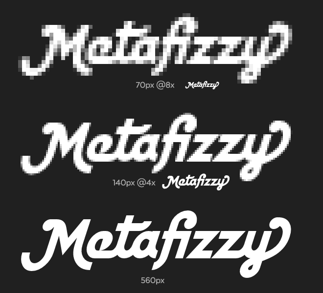 Metafizzy wordmark pixels